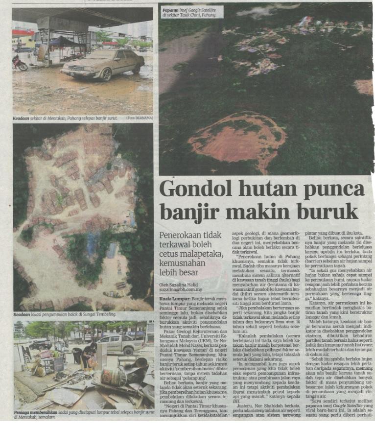 Gondol hutan punca banjir makin buruk, 11 Jan 2021, Berita ...